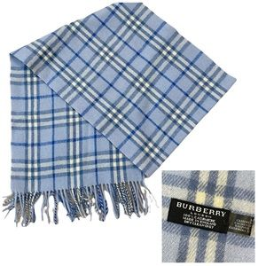 """Authentic Burberry Blue Plaid 100% Cashmere Scarf """"Like New"""""""